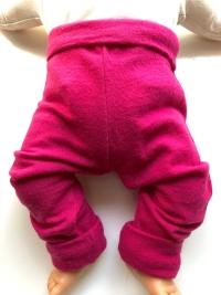 6-12+ months - Light Weight Dark Pink Wool Jersey Leggings Longies