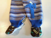 Extra Large Blue Patterned Tools Recycled Wool Footies