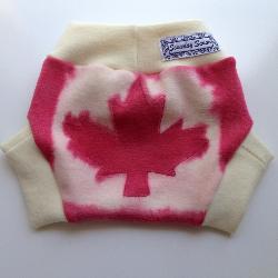6-18 months - Wool Diaper Cover - Hand dyed Canadian Maple Leaf Wool Interlock Diaper Soaker - Mediu