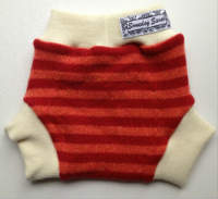 Small-Medium Orange and Red Striped Recycled Wool Soakers