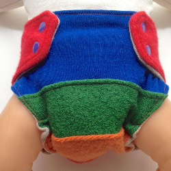 0-3+ months - Newborn Small Wool Diaper Cover Wool - Rainbow Recycled Wool Wrap