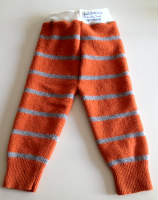 Large Recycled Orange Striped Longies with Interlock Waistband