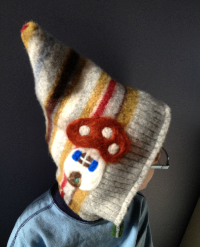 Needle felted and Recycled Toddler to Child Gnome Hat