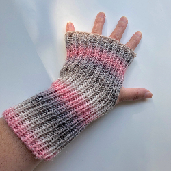 Pink and Grey Wool Fingerless Gloves - Arm Warmers