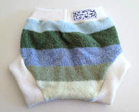 Large Striped Recycled Wool Soaker with Wool Interlock
