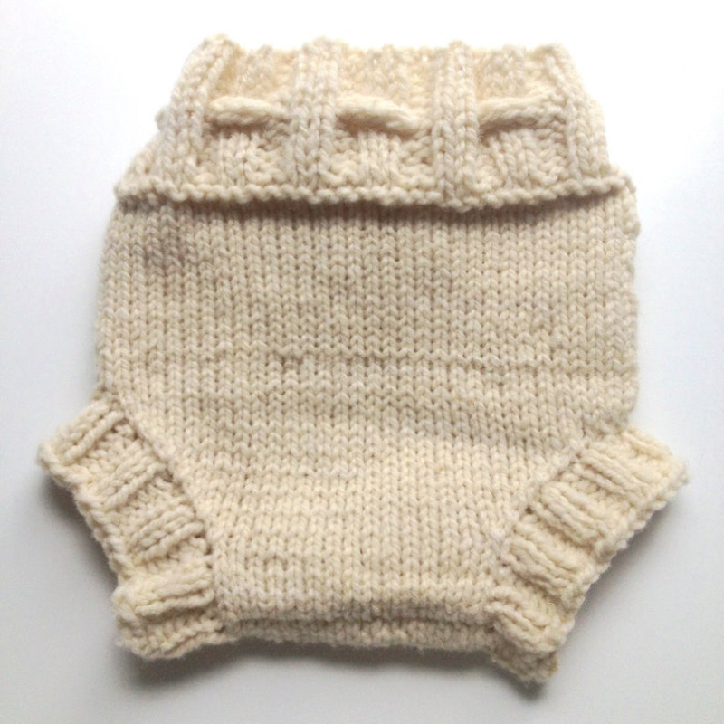 3-9 months - Diaper Cover Wool - Cream Coloured Small-medium Baby Handknit Wool Soaker
