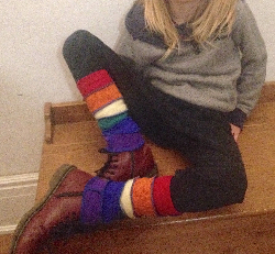 Rainbow Recycled Wool Leg Warmers for Toddlers or Small Kids