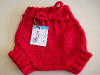 Small Red Hand Knit Wool Soaker, Diaper Cover and Photography Prop