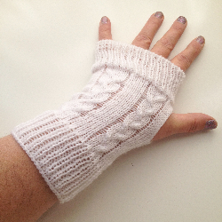 White Cabled Knit Arm Warmers Fingerless Gloves