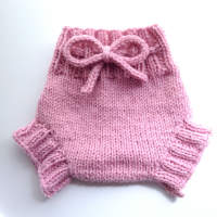 Small Pink Hand Knit Wool Soaker, Diaper Cover and Photography Prop