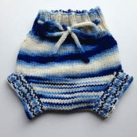 Medium Blue Jay Hand Knit Wool Soaker, Diaper Cover and Photography Prop