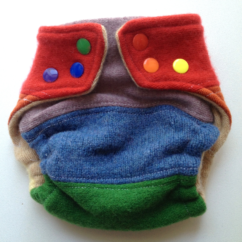 Rainbow Pieced Wool Snap Diaper Cover - Newborn