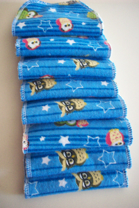 Sale --- Blue Owls Flannel and Cotton Sherpa Cloth Wipes