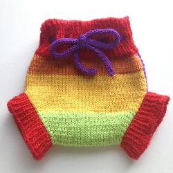 0-2 months - Diaper Cover Wool - Preemie Newborn Small Machine knit Wool Rainbow Soaker