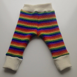 3-6+ months - Knit Rainbow Wool Longies - Wool Pants Diaper Cover - Small