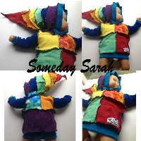 Small Rainbow Hand dyed Wool Interlock Hoodie