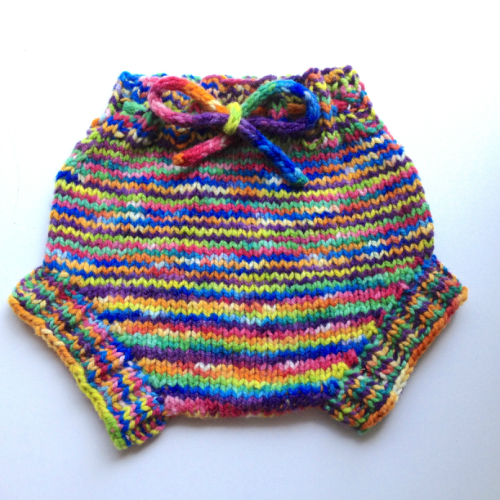 Rainbow Hand Knit Wool Soaker, Diaper Cover