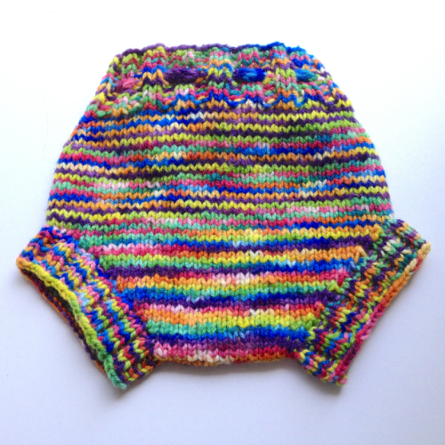 9-24+ Months - Rainbow Hand Knit Wool Soaker - Large