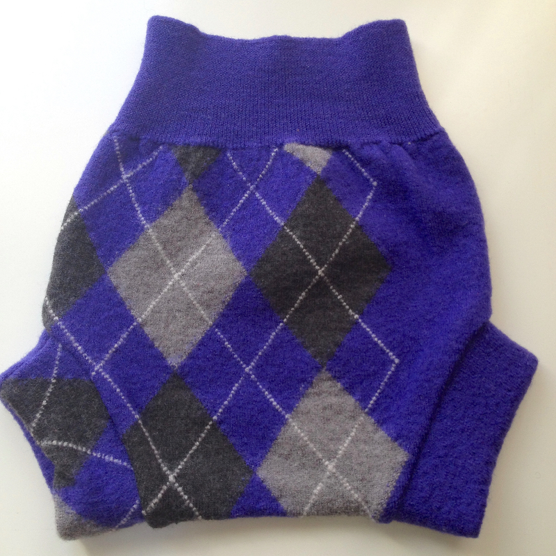 3-9 months - Recycled Merino Wool Purple Argyle Soaker Diaper Cover or Shorties