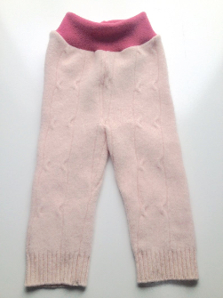 6-12+ months - Diaper Cover Wool Longies - Pink Cabled Recycled Wool/Angora Longies - Medium