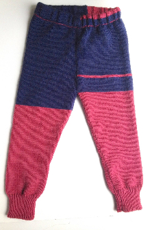 12 - 36 months - X-Large Machine Knit Wool Longies - Navy blue and dark pink Wool Pants