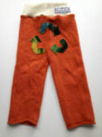 Orange Recycled Merino Longies with Recycled Symbol