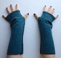 Dark Teal Recycled Wool Arm Warmers Fingerless Gloves
