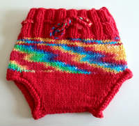 Hand Knit Newborn Rainbow Wool Soaker, Diaper Cover and Photography Prop