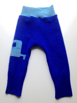 6-12 months - Recycled Lambswool Pants Longies - Camper Appliqué - Medium