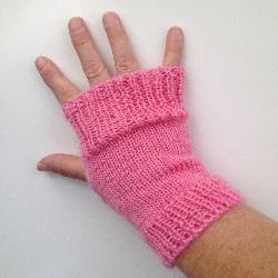 Pink Knit Arm Warmers Fingerless Gloves