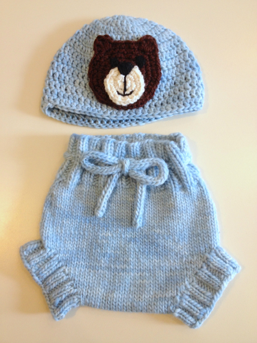 Small Bear Bum Blue Hand Knit Merino Wool Soaker and Crochet Hat