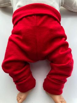 6-12+ months - Light Weight Red Wool Jersey Leggings Longies