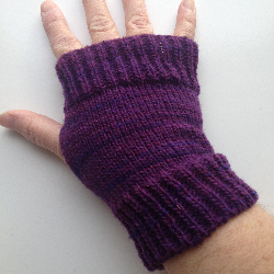 Purple Knit Wool Arm Warmers Fingerless Gloves