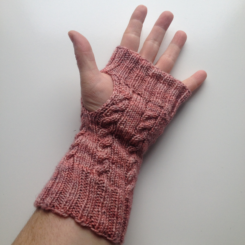 Pink Cabled Hand Knit Wool Arm Warmers Fingerless Gloves