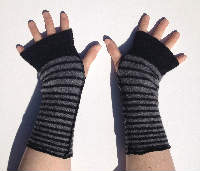 Black and Grey Stripes Recycled Wool Arm Warmers Fingerless Gloves