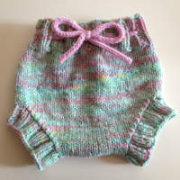 Medium Pink & Pastel Green Hand Knit Wool Soaker, Diaper Cover