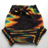 Hand Dyed Black Rainbow Hand Knit Large Wool Soaker, Diaper Cover and Photography Prop