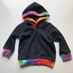 6-12+ months - Black and Rainbow wool Hoodie - Medium
