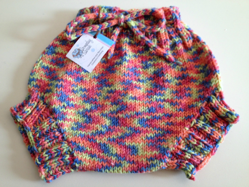 Large Pink Confetti Hand Knit Wool Soaker, Diaper Cover