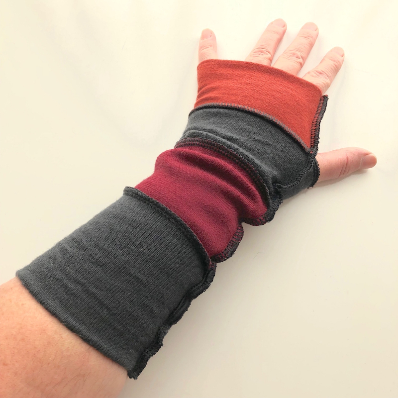 Rust, Maroon and Charcoal Merino Fingerless Gloves Arm Warmers