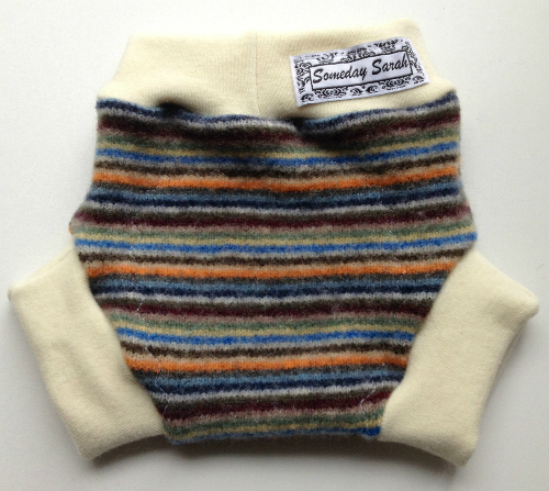 Small-Medium Autumn Striped Recycled Wool Soakers