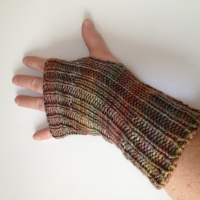 Earth Tone Wool Fingerless Gloves