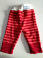 Red Striped Recycled wool Longies with Interlock Waistband