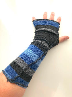 Blue and Grey Recycled Merino Arm Warmers Fingerless Gloves