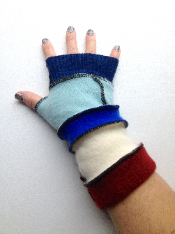 Blue and Maroon Recycled Wool Arm Warmers Fingerless Gloves
