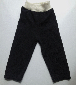 12-18+ months -Large Wool Longies - Recycled Black Extra Fine Merino Wool Pants