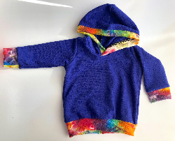 3-6+ months - Purple Wool Jersey Baby Hoodie - Small