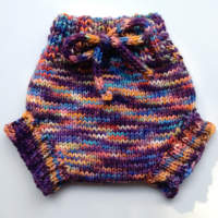 Small Hand dyed Hand Knit Wool Soaker, Diaper Cover and Photography Prop