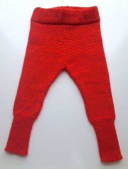 6-18+ months - Machine Knit Red Wool Longies - Medium