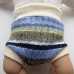 0-3+ months Wool Diaper Cover - Recycled Blue and Green Striped Lambswool and Interlock Wool Diaper